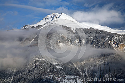 Cloudy montain in Crans-Montana