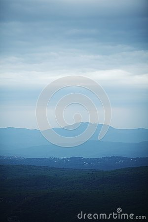 Cloudy mountains landscape