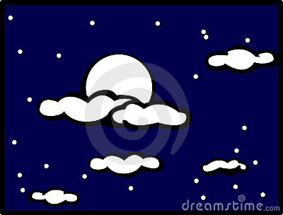 cloudy night sky with moon vector illustration