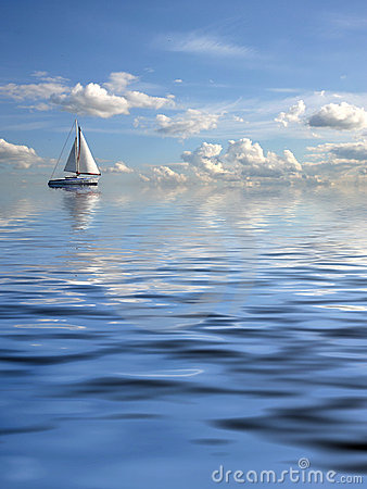 Cloudy seascape with a ship