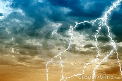 Cloudy sky abstract background with lightning