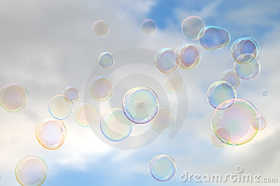 Cloudy sky and soap bubbles