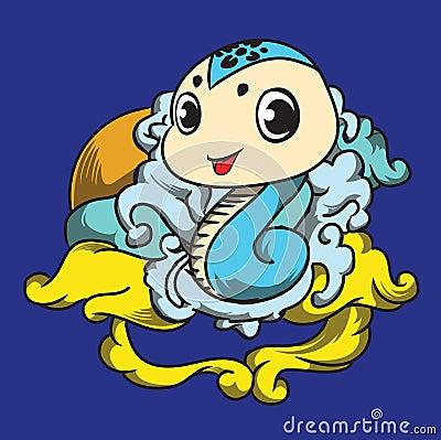 Cloudy snake Cartoon Illustration