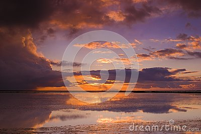 Cloudy sunset over the ocean