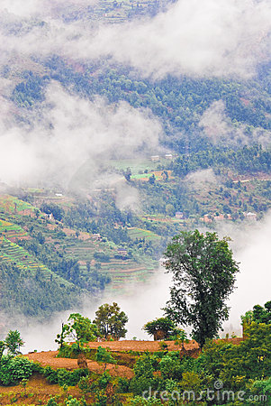 Cloudy Tibetan landscape