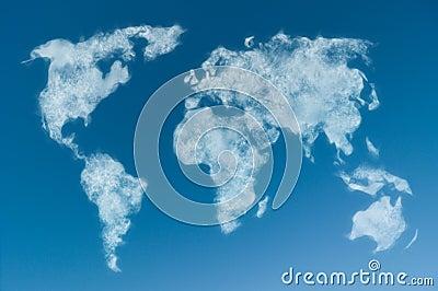 Cloudy world map