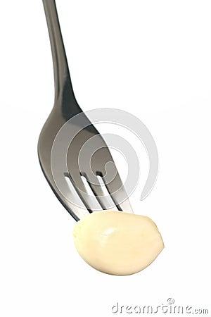 Clove of peeled garlic