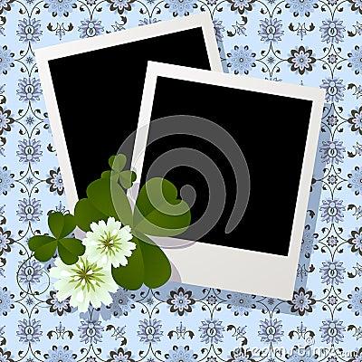 Clover leaf and flowers design