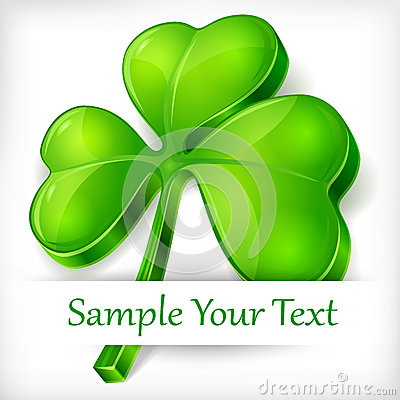 Clover leaf on white & text