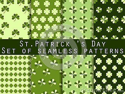 Clover. Set of seamless pattern with clover. St.Patrick's Day. Green color. Vector illustration. Vector Illustration