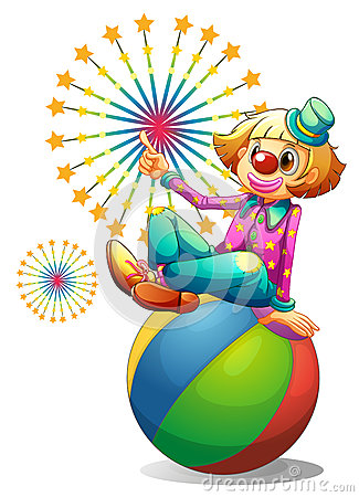 A clown above the inflatable ball