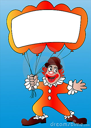 Clown with air ball and message