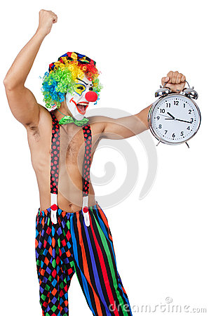 Clown with alarm clock