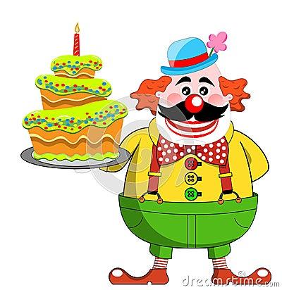 clown avec le g teau d 39 anniversaire photos libres de droits image 27409648. Black Bedroom Furniture Sets. Home Design Ideas