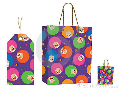 Clown bag and tag set