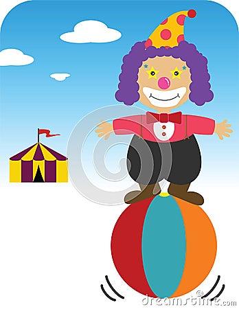 Clown balancing on ball