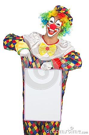 Clown with blank board