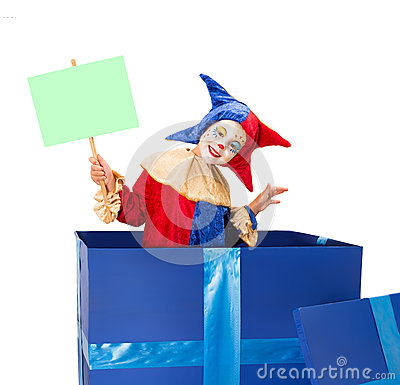Clown with blank card
