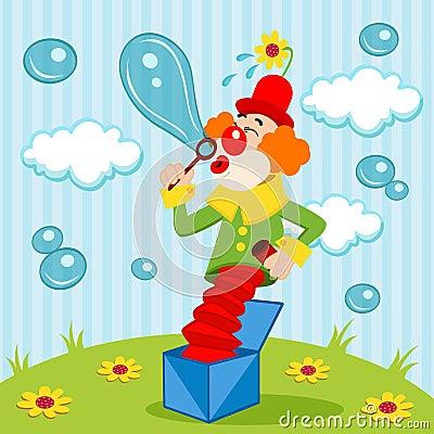 Clown blows bubbles