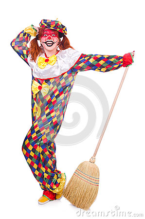 Clown with broom