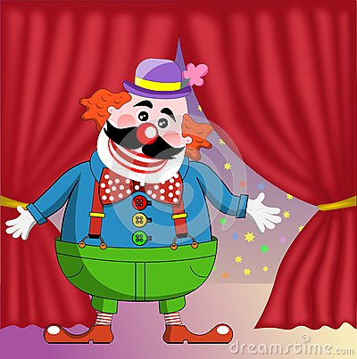 Clown on Circus Stage