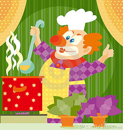 Clown cooking
