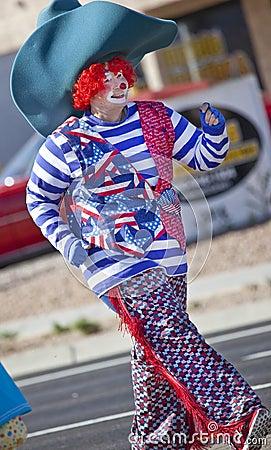 Clown cowboy in Arizona Parade Editorial Stock Image
