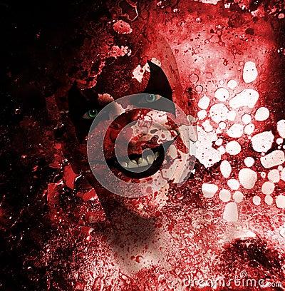 Clown de grimacerie sanglant