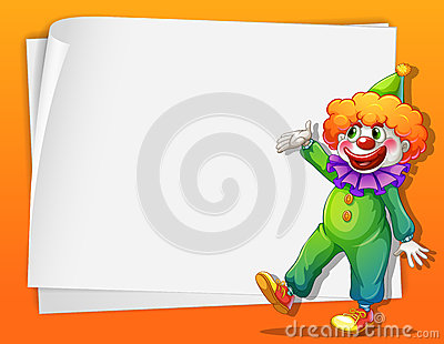 A clown beside an empty space