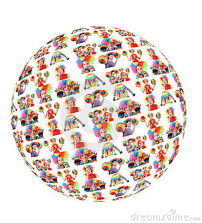 Clown family with rainbow hat umbrella globe