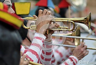 Clown fanfare trumpet Editorial Image