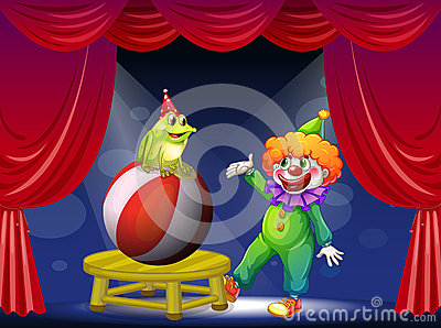 A clown and a frog performing on stage