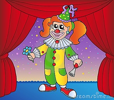 Clown girl on circus stage 1
