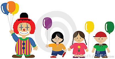 Clown giving balloons to children