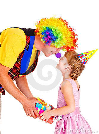 Clown giving present