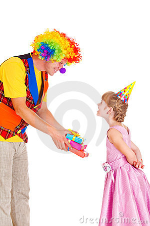 Clown giving presents