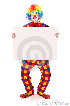 Clown holding blank white board