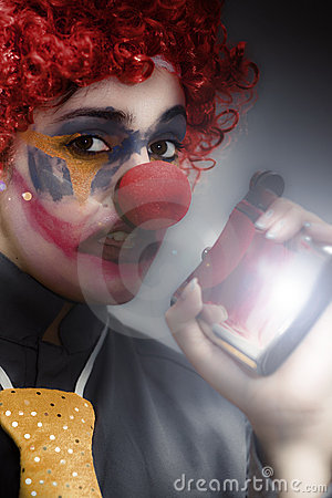 Clown Holding Flask
