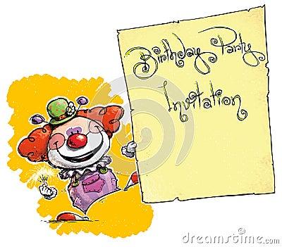 Clown Holding InvitationBirthday Party Royalty Free Images – Clown Birthday Party Invitations