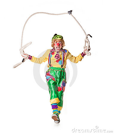 Clown jumps on a skipping rope