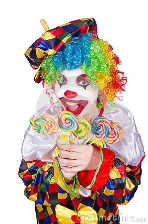 Clown with lollipops