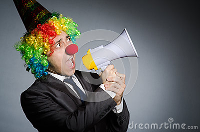 Clown with loudspeaker