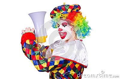 Clown with loudspeaker