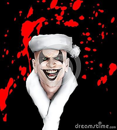 Clown mauvais de Santa avec le sang