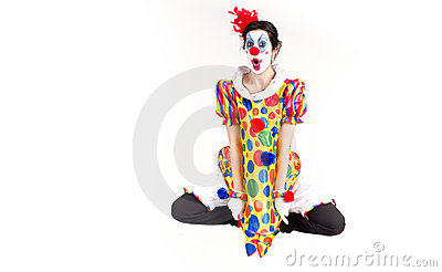 Circus Clown Excited Dancing Jumping Mid-Air