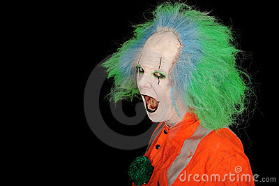 Clown with mouth open
