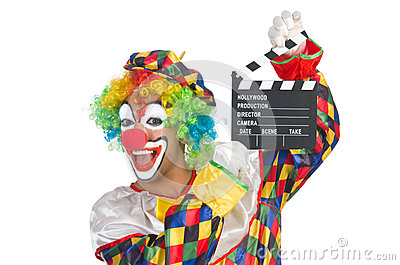 Clown with movie board