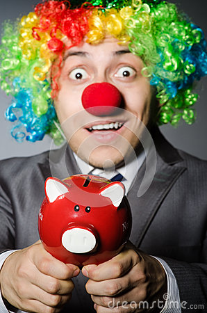 Clown with piggybank