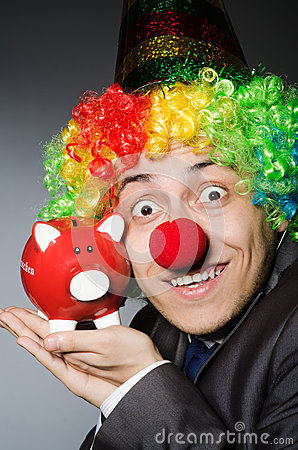 Clown with piggybank