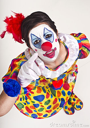 Character Circus Clown Pointing up at Viewer